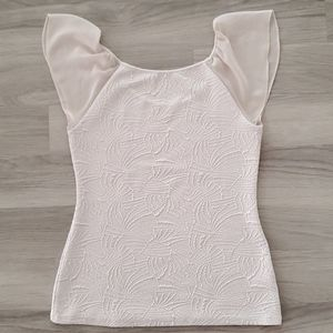 Cream Textured Sheer Sleeve Top